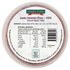 Harris Farm Olives Jumbo Kalamata 400g