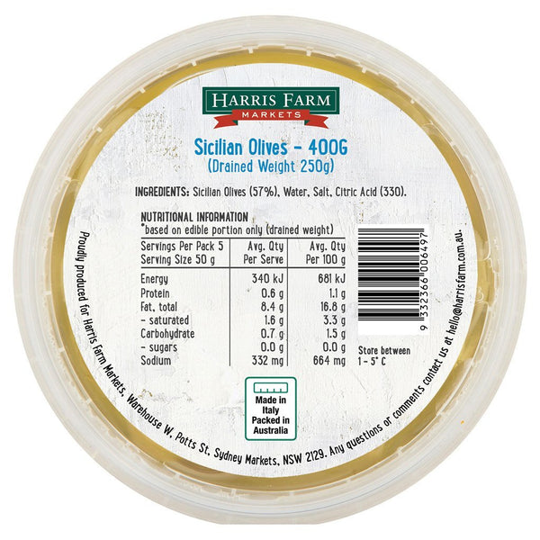 Harris Farm - Olives Sicilian (400g)
