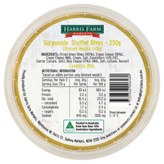 Harris Farm Olives Gorgonzola Stuffed 250g