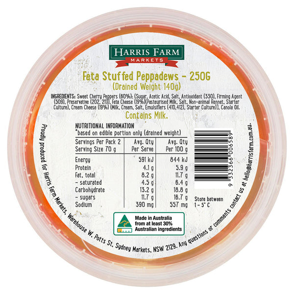 Harris Farm - Antipasti Pepperdews Stuffed Fetta (250g)