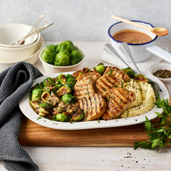 Pork Loin Steaks - with Creamy Mushroom & Brussels Sprouts