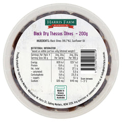Harris Farm - Olives Black Dry Thassos (200g)
