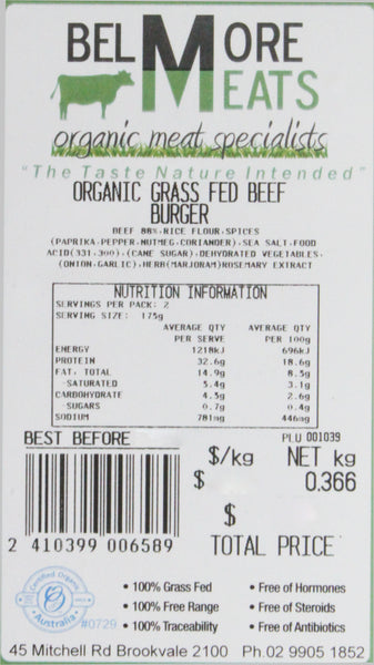 Beef - Burgers Organic (2 Pieces, 300-420g) Belmore