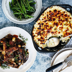 Molasses Glazed Lamb Riblets - with Potato Cauliflower Gratin & Green Beans