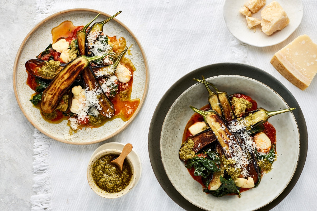 Quick Braised Eggplant - with Bocconcini, Cherry Tomato Sauce & Basil Pesto