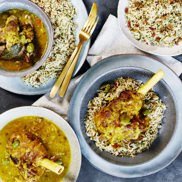 Leek & Turmeric Braised Lamb Shanks - with Pilaf Rice
