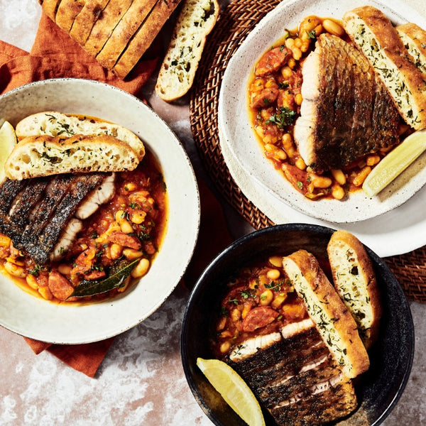 Barramundi Asopado - with Chorizo, Cannellini Beans & Garlic Bread