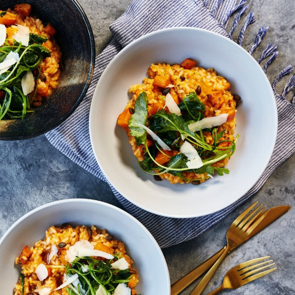 Pumpkin & Mascarpone Risotto - with Pepitas & Baby Kale