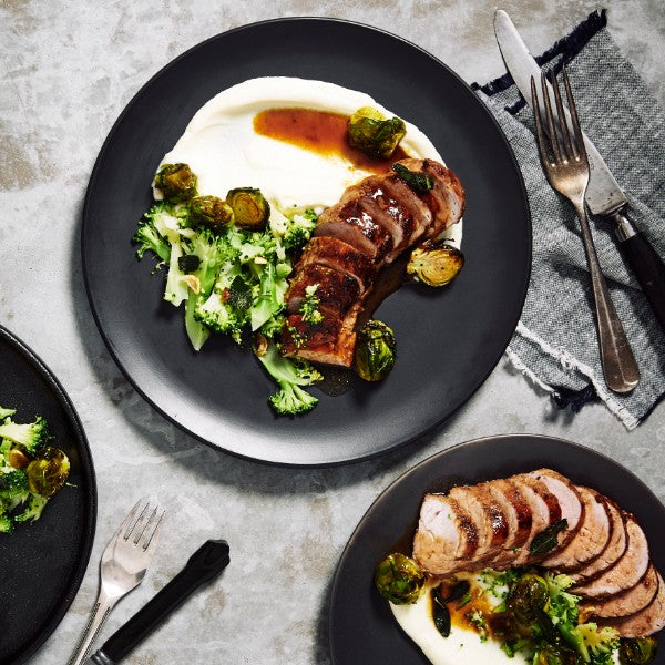 Maple Glazed Pork Fillets - with Cauliflower Puree & Roasted Brussels