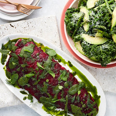Easter Beetroot Coated Salmon - with Herb Dressing & Kale Avocado Salad