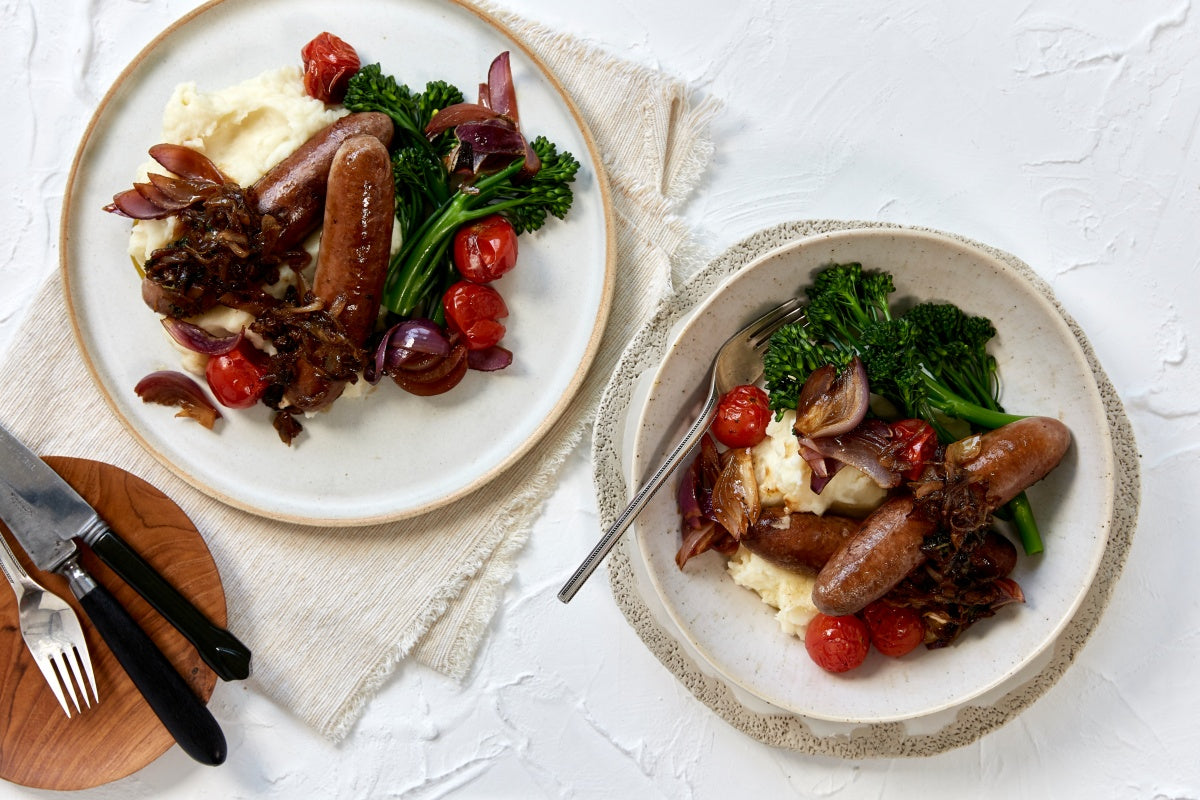 Bangers and Mash - with Broccolini & Roasted Tomatoes