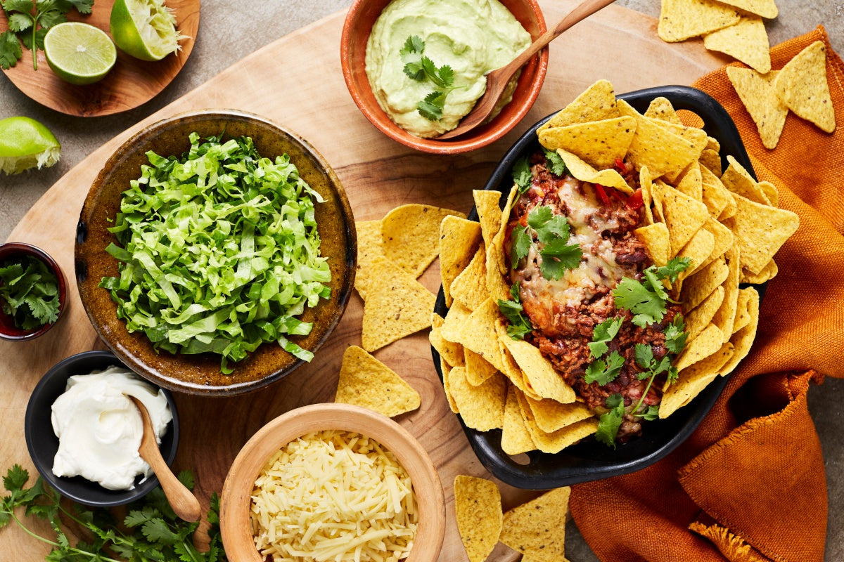 Mexican Beef Nachos - with Beans, Guacamole & Sour Cream
