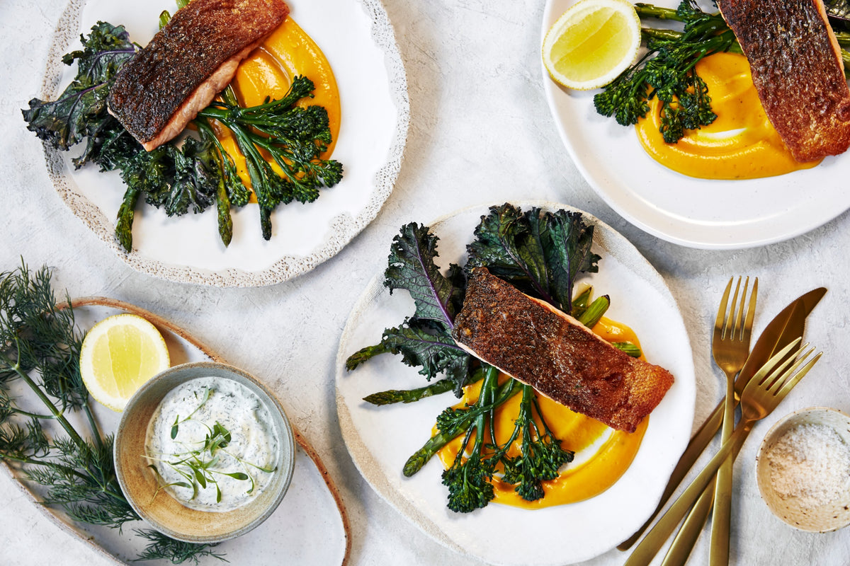 Crispy Skin Salmon - with Pumpkin Puree & Roasted Greens
