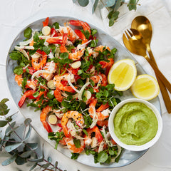 Fresh Tiger Prawns - with Radish, Palm Heart Salad & Avocado Horseradish Dip