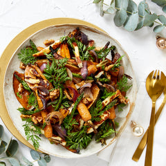Christmas Salad - with Roasted Veg, Halloumi, Walnuts & Lemon Mustard Dressing