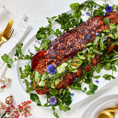 Honey & Tamari Baked Salmon - with Pickled Cucumber