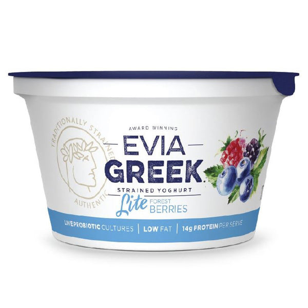Evia Greek Strained Yoghurt Lite Forest Berries 170g