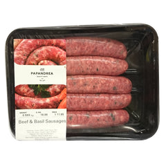 Sausages Beef & Basil Joe Papandrea 550-650g , Frdg5-Meat - HFM, Harris Farm Markets