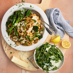 Sundried Tomato Pesto Tagliatelle - with Pan Fried Mushrooms and Broccolini