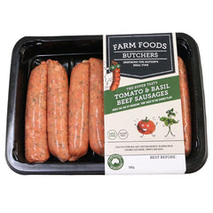 Sausages - Beef Tomatoes & Basil (500g) Farm Foods