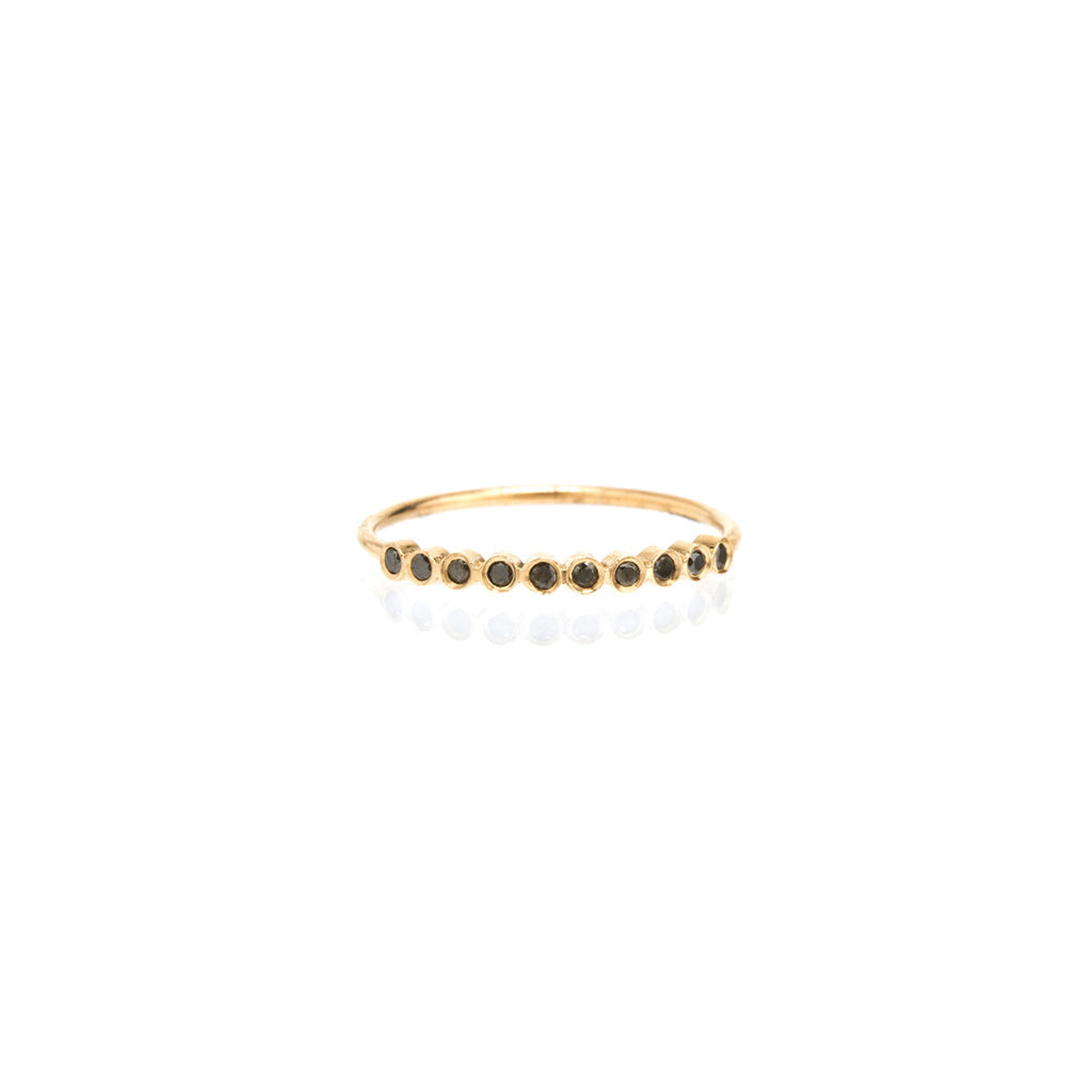 14k 10 tiny black diamond bezel ring