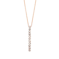 14k bezel set vertical bar necklace