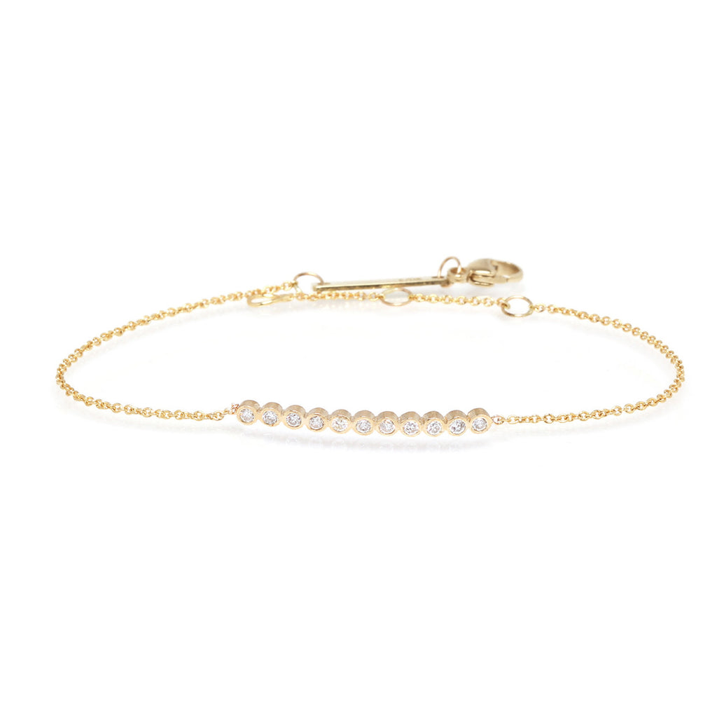 14k tiny bezel diamond bar bracelet