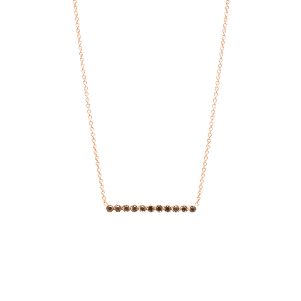 14k tiny black diamond bezel bar necklace
