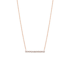 14k tiny diamond bezel bar necklace