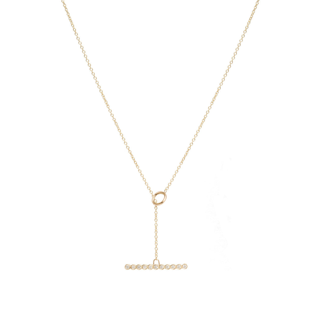 Zoë Chicco 14kt Gold Horizontal Diamond Bezel Set Bar Toggle Necklace