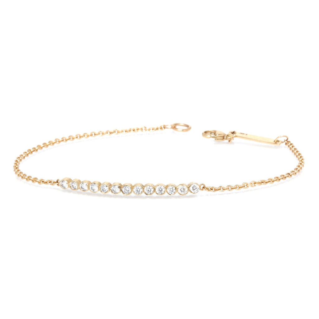 Zoë Chicco 14kt Yellow Gold 13 White Diamond Bezel Set Curved Bar Bracelet