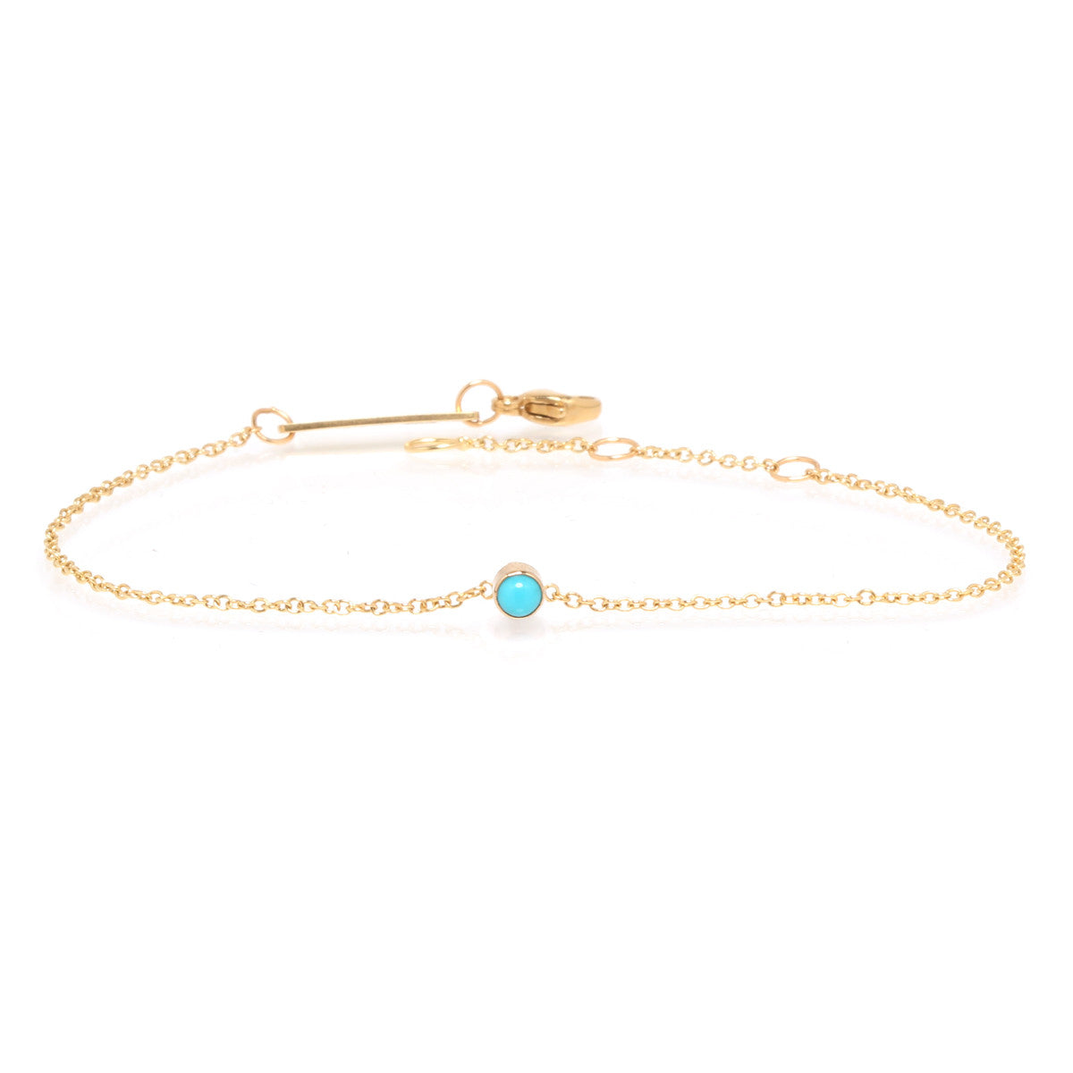 14k single bezel turquoise bracelet