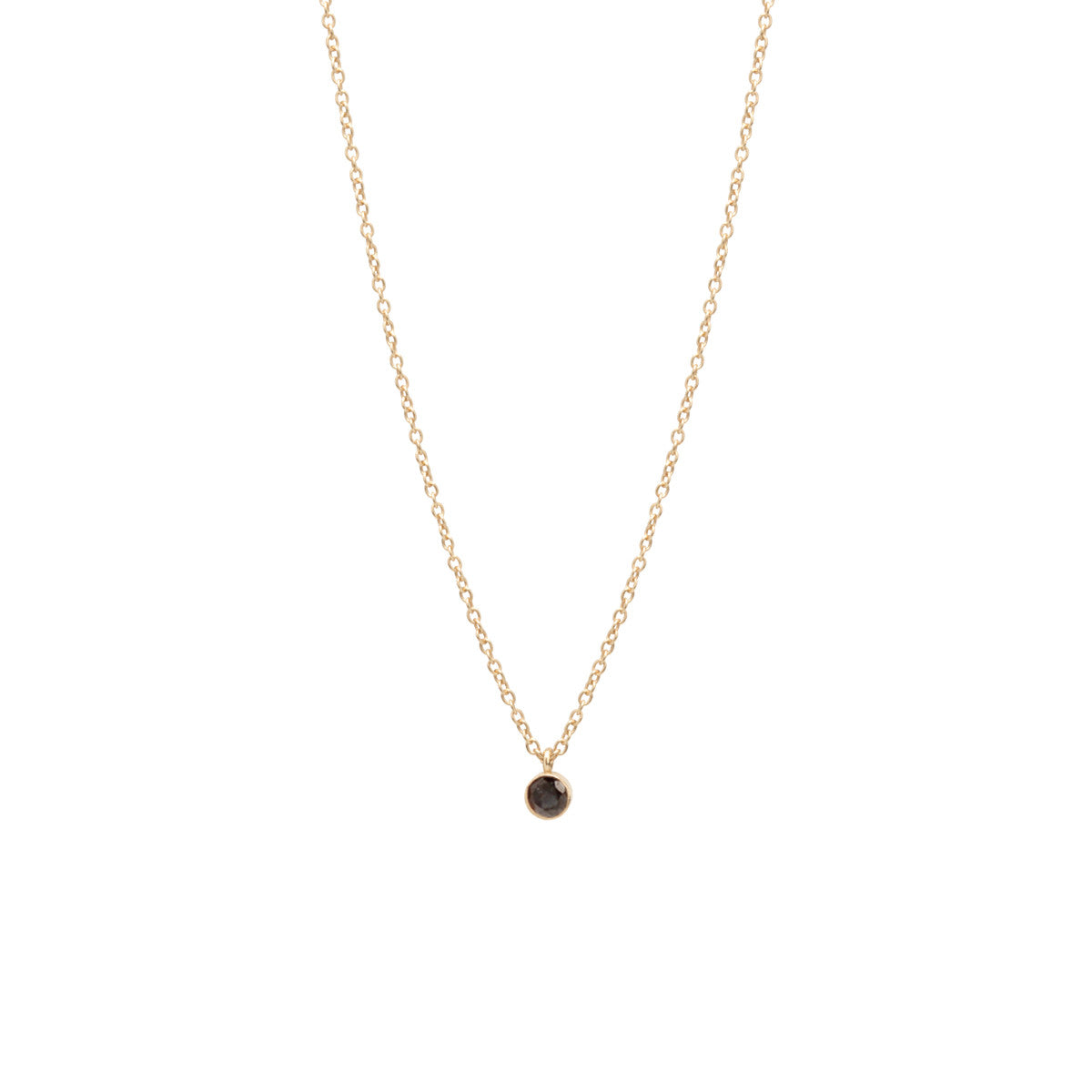 14k single large black diamond choker pendant necklace