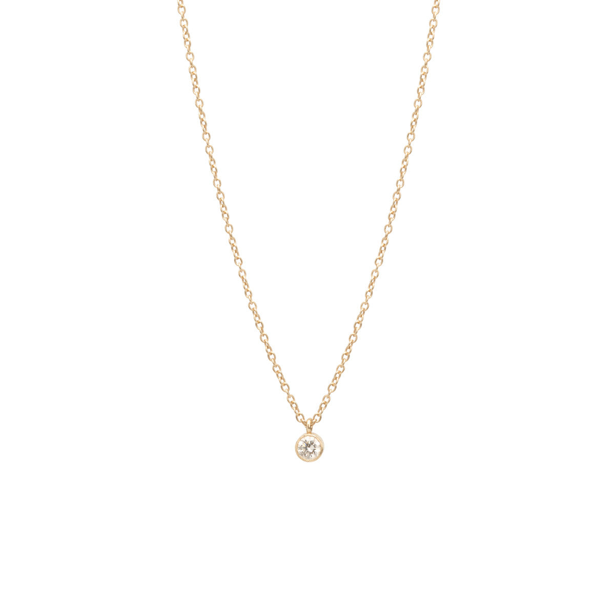 14k single large diamond pendant necklace | APRIL BIRTHSTONE