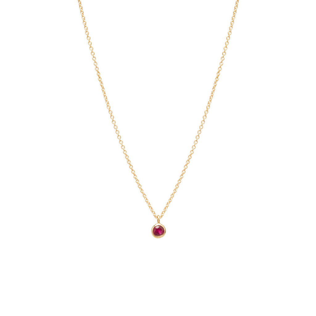 14k single ruby choker pendant necklace | JULY BIRTHSTONE