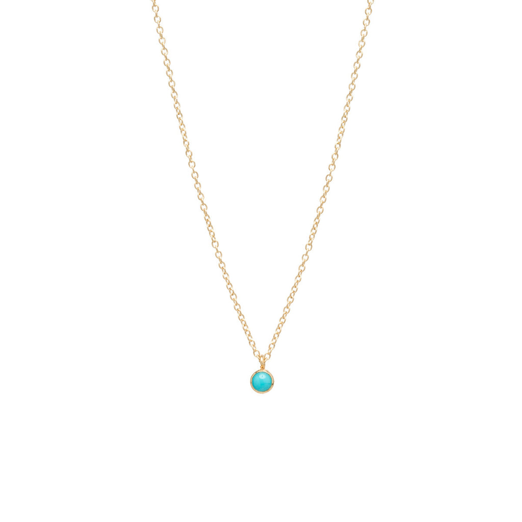 14k single turquoise choker pendant necklace | DECEMBER BIRTHSTONE