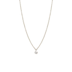 14k single diamond choker pendant necklace