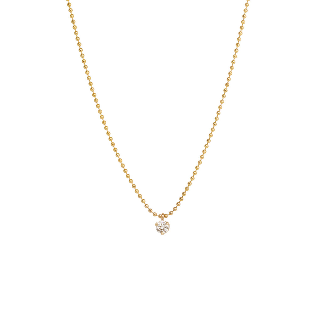 14k single diamond prong necklace