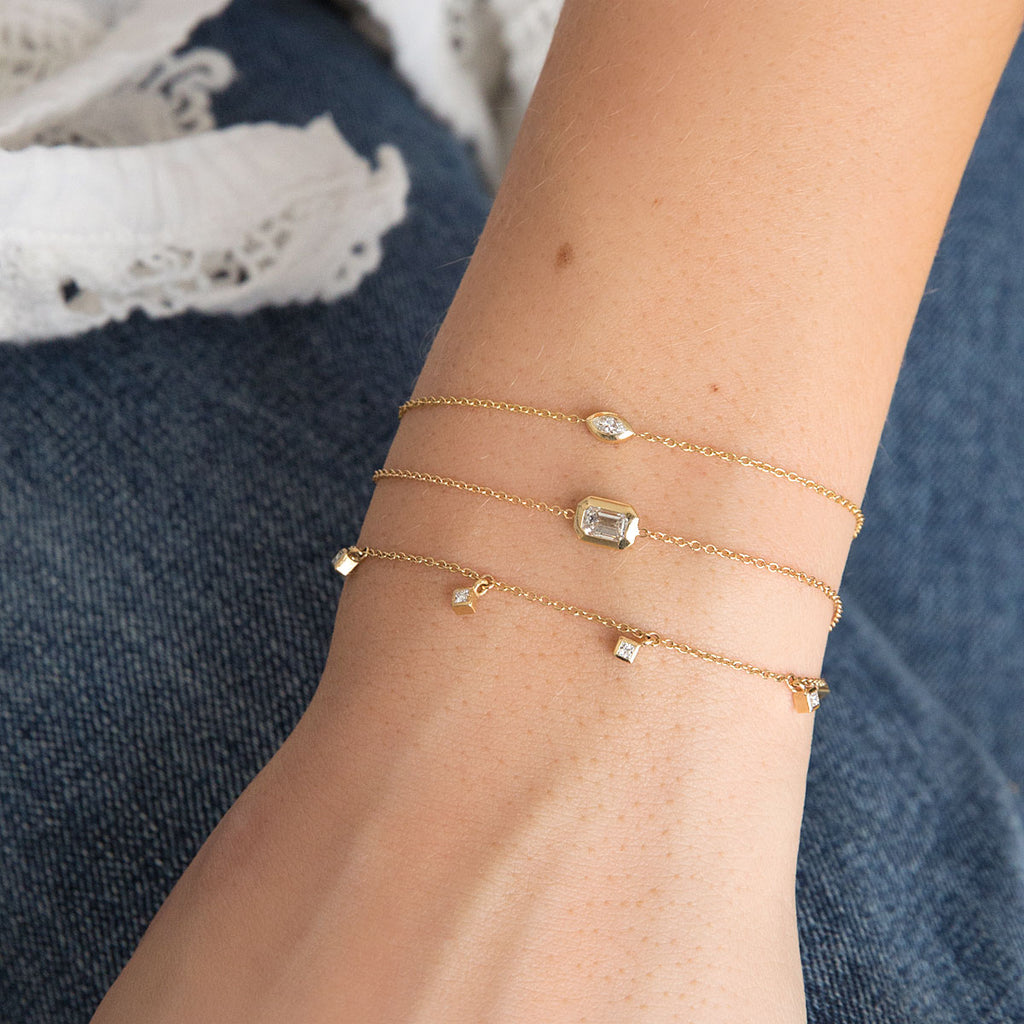 14k princess diamond dangle bracelet