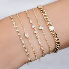 14k mixed diamond linked bolo bracelet