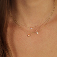 14k pear shaped diamond necklace