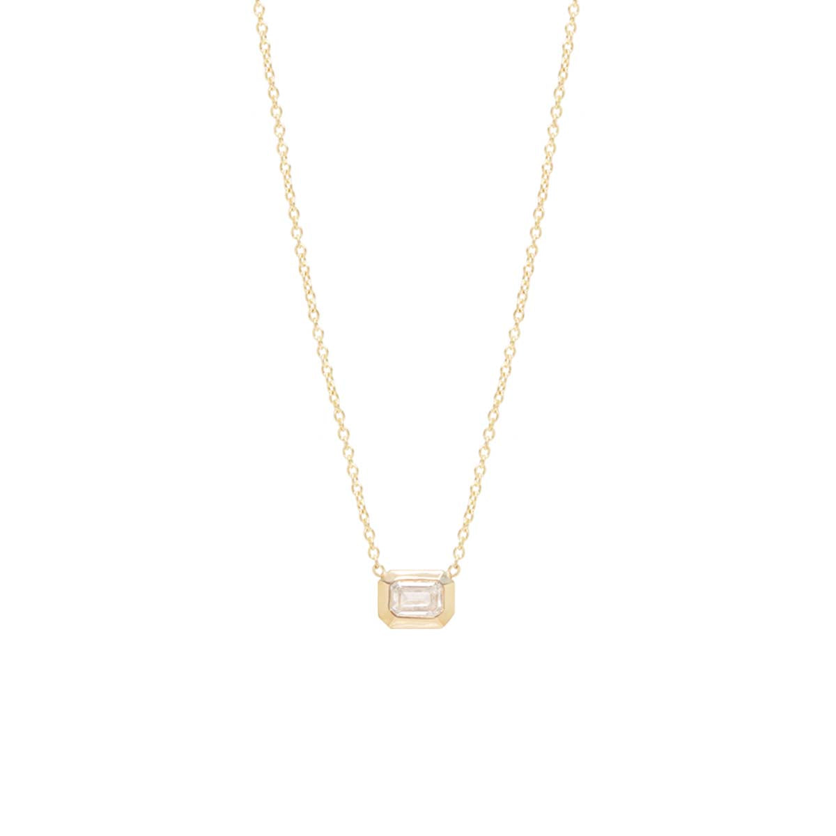 14k small emerald cut diamond necklace