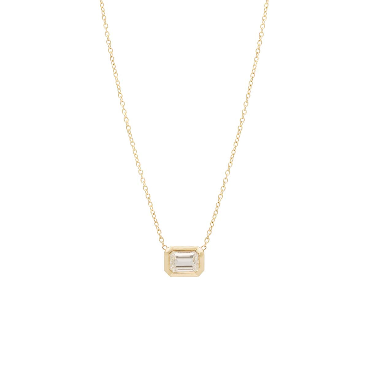Zoë Chicco 14kt Yellow Gold Emerald Cut White Diamond Necklace