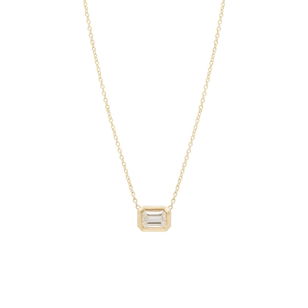 14k emerald cut diamond necklace