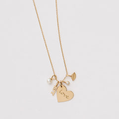14k single medium LOVE heart charm pendant