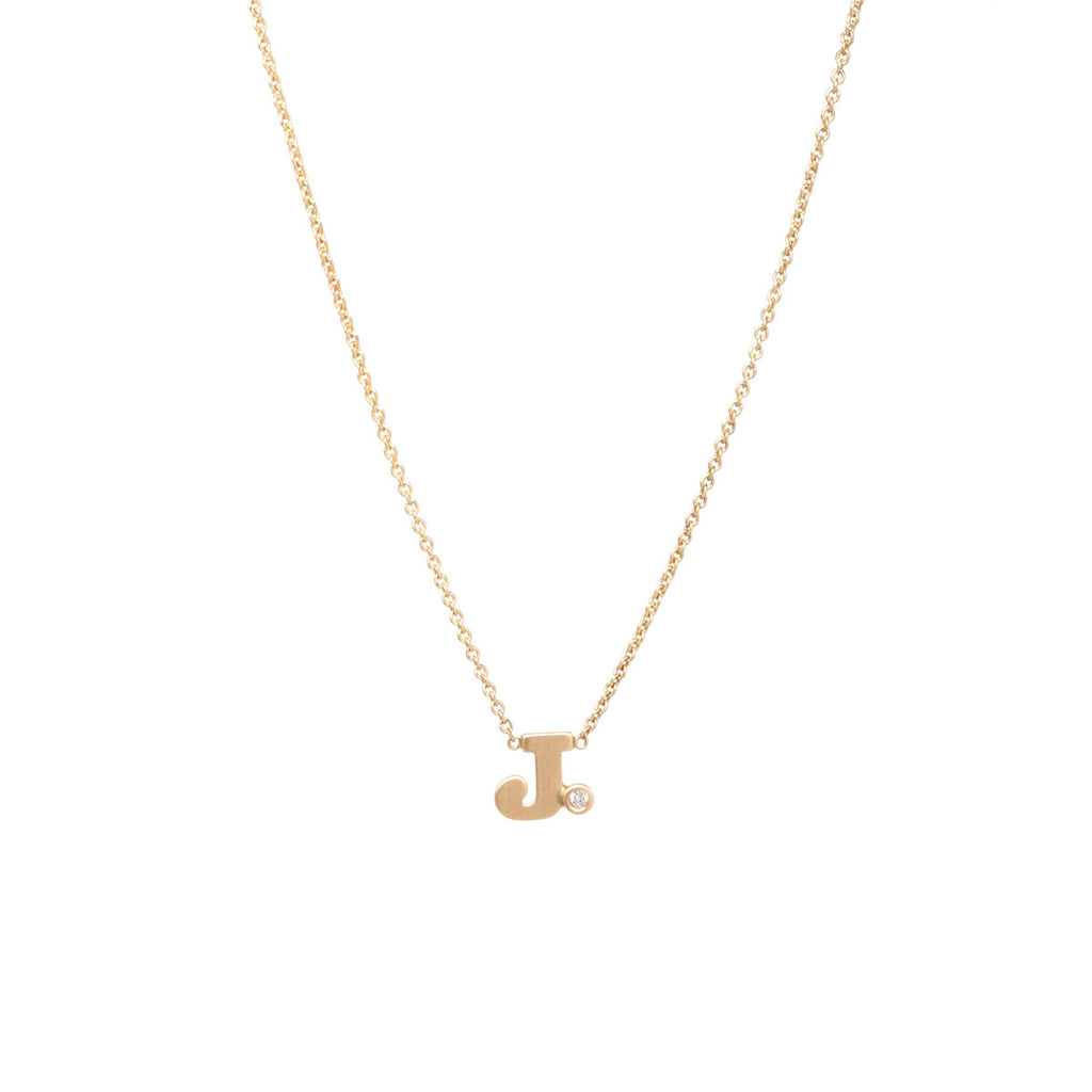 Zoë Chicco 14kt Yellow Gold White Diamond Letter Necklace