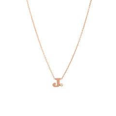 Zoë Chicco 14kt Rose Gold White Diamond Letter Necklace