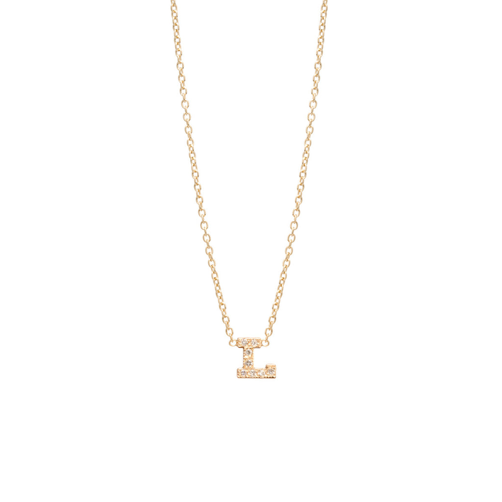 14k pave letter necklace