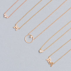 14k gold 2 letter single diamond necklace