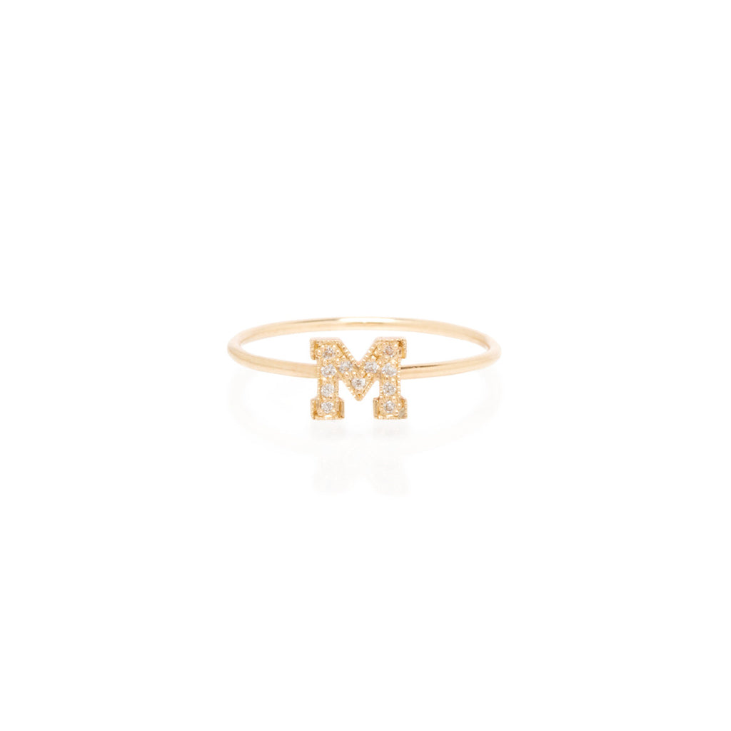 14k pave initial ring